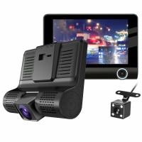 "C2 4"" HD 1080P 3 Lens Car DVR Dash Cam Recorder 170° Vehicle Video Recorder Rearview Camera"