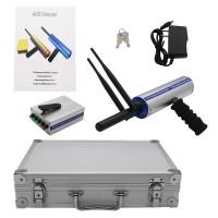 Long Range Gold Metal Detector Underground Metal Locator w/ 2 Antennas Aluminum Carry Case Silver