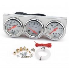 "2"" 52mm Triple Gauge Set Kit Oil Pressure Gauge Water Temperature Gauge  Voltage Meter LED Backlight"