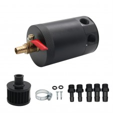 2-Port Baffled Oil Catch Can Tank Reservoir with Drain Valve Breather Filter Universal Type Aluminum
