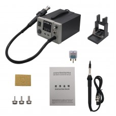 2 In 1 Soldering Rework Station Hot Air Gun with Soldering Iron 750W LED Display + 3 Nozzles