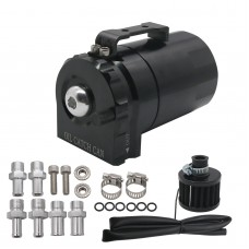 300ml Universal Oil Reservoir Catch Can Tank with Breather Filter Black Hose Version