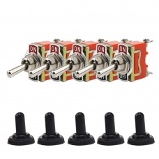 5pcs Waterproof Toggle Switch On Off 2 Pin Heavy Duty 30A 125V SPDT For Vehicles Boats
