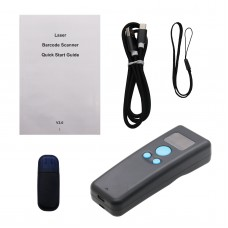 1D Barcode Scanner Wireless Bluetooth w/ LCD Display for Android iPhone PC BT Laser Version