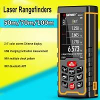 """100m/328ft Laser Distance Meter Digital Laser Rangefinder Rechargeable 2.4"""" Color Display SW-S100"""