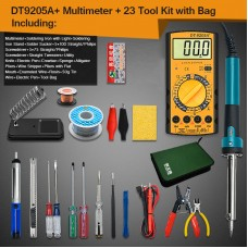 Electric Soldering Iron Kit w/ Soldering Iron with Light DT-9205A+ Multimeter Storage Bag Version