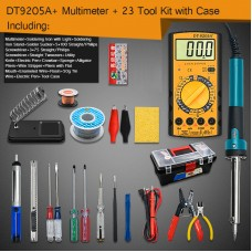 Electric Soldering Iron Kit w/ Soldering Iron with Light DT-9205A+ Multimeter Tool Box Version