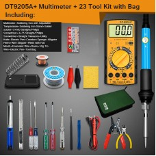 Electric Soldering Iron Kit w/ Soldering Iron Adjustable Temperature DT-9205A+ Multimeter Storage Bag