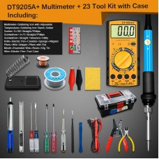 Electric Soldering Iron Kit w/ Soldering Iron Adjustable Temperature DT-9205A+ Multimeter Tool Box