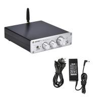 100W*2 Bluetooth HiFi Amplifier DAC Headphone Amplifier Amp BT5.0 PA-01 Silver + Power Cord Adapter