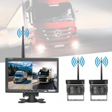 """Wireless Backup Camera with Monitor 7"""" Front & Rear View Backup System 2*Camera For Truck Van Bus"""