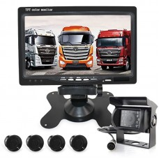 """Wired Backup Camera System IR Night Version with 7"""" Monitor & 4 Parking Sensors Audio Alarm"""