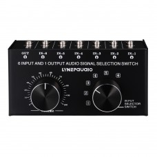 Lossless Audio Input Signal Selector Audio Input Switch 6 IN & 1 OUT Adjustable Output Volume 3.5mm Ports