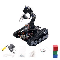 Open Source Robot Tank Car 6DOF Mechanical Arm Tracking Gripping Support PS2 Controller/APP Control