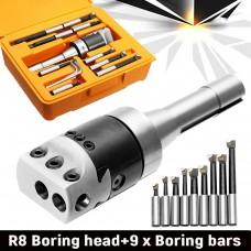 "9Pcs 2"" Precise R8 Boring Head R8 Shank Carbide Boring Bar Set Boring Tool for Milling Machine"