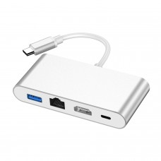 4-In-1 Type C to HDMI Converter Docking Station USB3.0 Gigabit Ethernet Port HDMI PD Charge HW-TC42