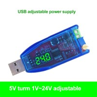 DC-DC Buck Boost Converter USB Adjustable Step Up Down Power Supply Module 5V to 1-24V (Green Light)
