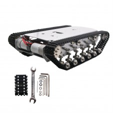 T600 Metal Truck Stainless Steel Body Tank Intelligent Robot Chassis Plastic Pedrail Chidren Educational Toys