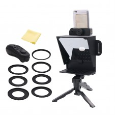 82mm Mini Portable Inscriber Mobile Teleprompter Artifact Video with Adapter Rings Remote Control for Mobile Phone & Camera