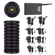 Wireless Paging System Restaurant Pager System w/ 10 Pagers Vibration Beep Light Indicator SU-680
