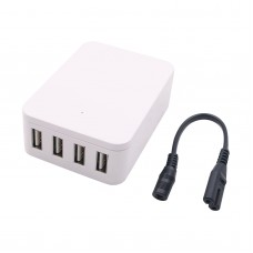 4-Port USB Charger Cell Phone Quick Charger Input DC 10-36V with DC Cable Female Port