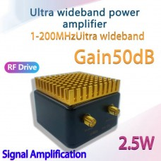 1-200MHz Wideband Linear Power Amplifier Amp Drive Amplifier 50dB Adjustable Gain