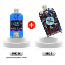 UM25C USB Voltage Current Tester USB2.0 Type-C Bluetooth Communication + HD35 USB Electronic Load