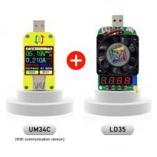 Type C USB Voltage Current Tester USB 3.0 Bluetooth Communication + USB Electronic Load (UM34C+LD35)