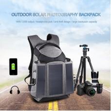 14W Solar Power Backpack Camera Backpack Bag Anti-Theft Large Capacity w/ Headphone USB Hole PU5012H