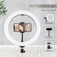 "10.2"" Ring Fill Light LED Fill Light w/ Remote Control Phone Clip Ball Head For Studio Video PU455B"
