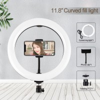 """11.8"""" LED Ring Fill Light Dimmable Selfie Ring Light with Cell Phone Holder For Vlog Video PU457B"""