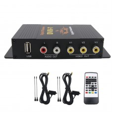 2 Antenna Car DVB-T MPEG-4 Digital TV Dual Tuner TV Receiver TV Box 4 Video Output for Car DVD Monitor