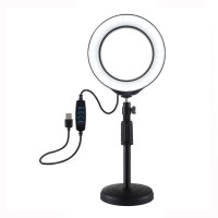 """6.2"""" Dimmable LED Ring Fill Light + Desktop Tripod Stand Round Base Adjustable Height 18-28cm PU392"""
