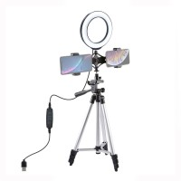 """Selfie Ring Light Tripod Mount with 6.2""""/16cm Dimmable LED Ring Fill Light Dual Phone Holder PKT3032"""
