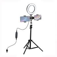 """1.1m Selfie Ring Light Tripod Mount + 6.2""""/16cm Dimmable LED Ring Light Dual-Phone Holder PKT3036"""
