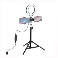 """70cm Light Tripod Stand + 6.2""""/16cm Dimmable LED Ring Light Dual-Phone Holder PKT3037"""