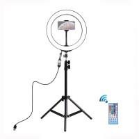 "42.4"" Tripod Stand + 10.2"" LED Ring Light w/ Remote Control & Tripod Ball Head & Phone Clamp PKT3043"