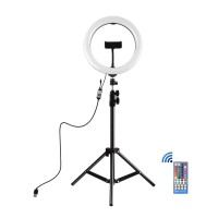 """10.2"""" LED Ring Light with Tripod Stand & Remote Control & Phone Clamp For Livestream PKT3051B"""