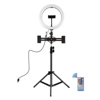 """10.2"""" LED Ring Light with Tripod Stand & Dual-Phone Holder & Remote Control & Phone Clamp PKT3052B"""