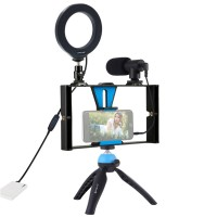"Smartphone Video Rig w/ 4.7"" Ring Light & Microphone & Tripod & Tripod Head For iPhone Huawei PKT3025"