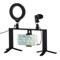 "Smartphone Video Rig w/ 4.7"" Ring Light & Microphone & Mini Tripod & Cold Shoe Tripod Head PKT3028"