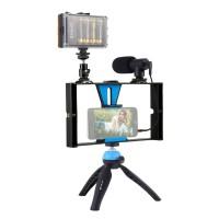 Smartphone Video Rig w/ Fill Light & Mic & Tripod & Cold Shoe Tripod Head For iPhone Huawei PKT3023
