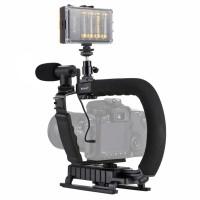 Camera Stabilizer w/ Fill Light & Mic & Cold Shoe Tripod Head For All SLR Home DV Cameras PKT3013