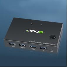 HDMI KVM Switch 2 Port 4K Switcher 2 In 1 Splitter Box USB Hub For Sharing Printer Keyboard Mouse