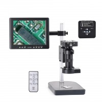 "34MP Industrial Microscope Camera Kit w/ 8"" Screen 100X C-Mount Lens 60 LED Light For PCB Repair"