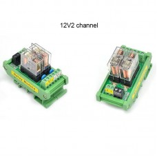 2 Channel OMRON Relay Module SPDT 2 Ways Driver Board Socket DC 12V 16A 1NO+1NC 35mm Din Rail Mount