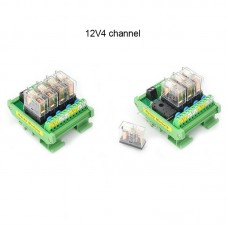 4 Channel OMRON Relay Module SPDT 4 Ways Driver Board Socket DC 12V 16A 1NO+1NC 35mm Din Rail Mount