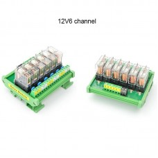 OMRON 6 Channel Relay Module SPDT 6 Ways Driver Board Socket DC 12V 16A 1NO+1NC 35mm Din Rail Mount