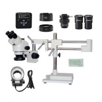 3.5X 7X 45X 90X Double Boom Stand Microscope + 34MP Industrial Microscope Camera For PCB Repair