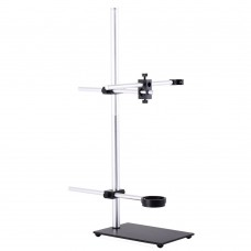 Stereo Microscope Boom Stand Dual Arm 56mm Ring Holder Height 60cm For Industrial Cameras
